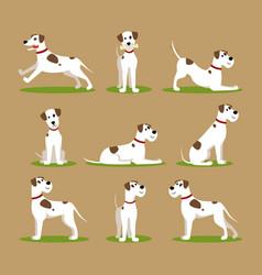 cartoon color funny puppy icons set vector image vector image