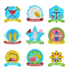 Cleaning Emblems Set vector image vector image