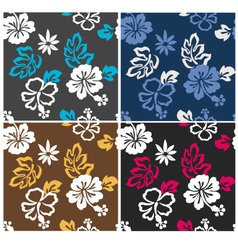hibiscus seamless flower pattern vector image