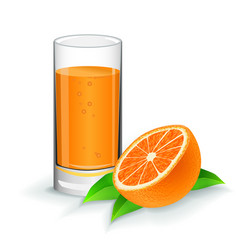 orange fresh juice with orange on white vector image vector image