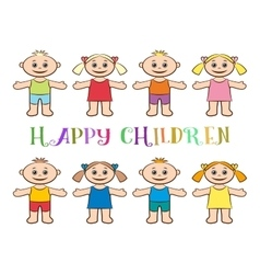 Set of Children Boys and Girls vector image vector image