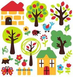 Cartoon garden and animal icon vector
