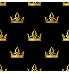 Golden crowns black seamless pattern vector image vector image