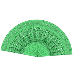 green fan isolated on a white background vector image vector image
