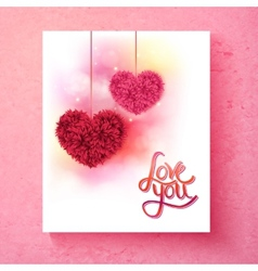 Two romantic floral hearts - Love You vector image