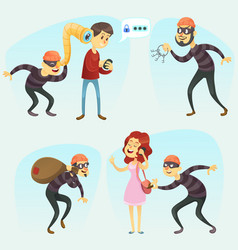 - funny comic thief in action vector