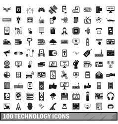 100 technology icons set simple style vector