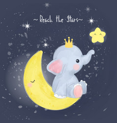 Adorable baelephant sitting on moon vector
