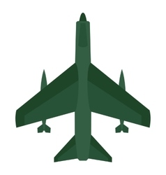 Aircraft with missiles icon flat style vector