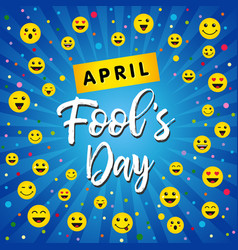 april fools day greeting card with happy face icon vector image