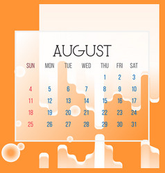 august 2019 calendar leaf vector image