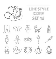 baby born set icons in outline style big vector image