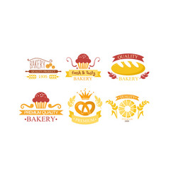 bakery logo set bakehouse retro emblem design vector image