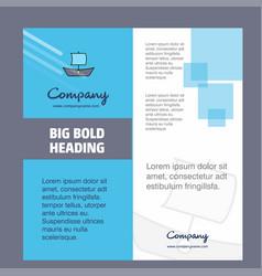 boat company brochure title page design company vector image