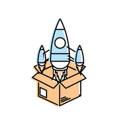 Box with technology rocket out side vector