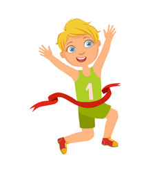 boy run to finish line first a colorful vector image