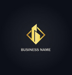 building company gold logo vector image