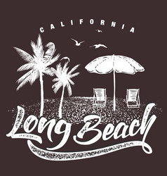 california long beach typography for t-shirt vector image