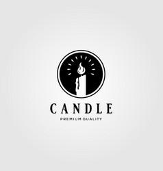 candle light vintage flame logo design vector image