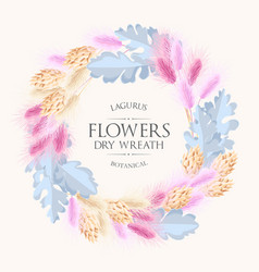 card with lagurus and dry flowers wreath vector image