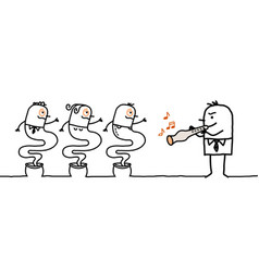 Cartoon businessman charming people with a flute vector