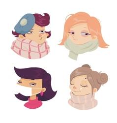 cartoon face sickness cold symptoms girl vector image
