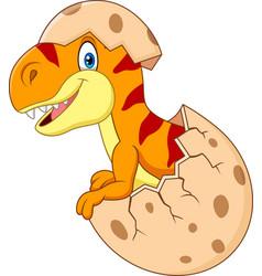 cartoon funny dinosaur hatching vector image