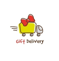 Cartoon gifts express delivery logotype vector