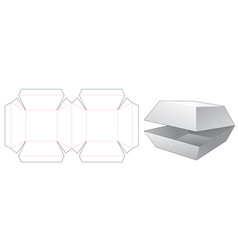 Chamfered box die cut template vector