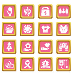 charity icons set pink square vector image