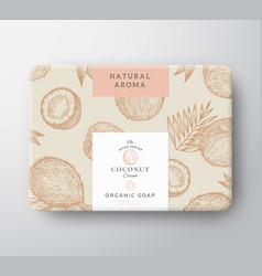 Coconut soap cardboard box abstract vector