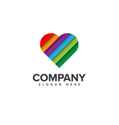 Colorful love logo design vector