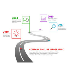 Company timeline milestone road with pointers vector