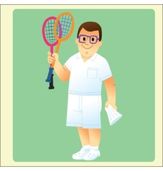 Complete man is exercising plays badminton vector
