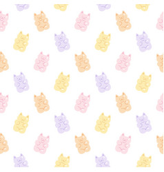 cute gummy cat jelly candy seamless pattern vector image