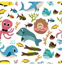 Cute seamless underwater texture design Cartoon vector image