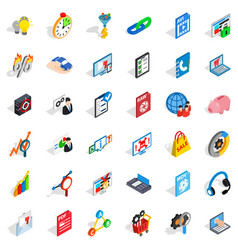 data cloud icons set isometric style vector image