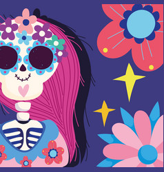 day dead catrina with flowers decoration vector image