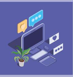 Desktop computer technology device icon vector