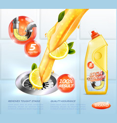 Drain cleaner ad poster vector