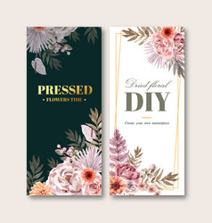 Dried floral flyer design with rose anemone vector