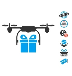 Drone Gift Delivery Icon With Free Bonus vector