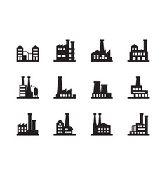 factory silhouettes manufacture industrial plant vector image