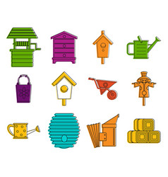 farming icon set color outline style vector image