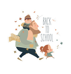 father with his happy kids going to school vector image