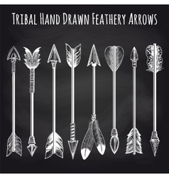 Feathery arrows collection on chalkboard vector