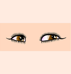 Female cartoon style detailed brown eyes vector