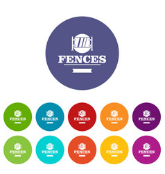 Fence glass icons set color vector
