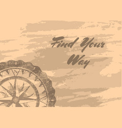 Find your way banner with compass windrose vector
