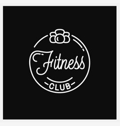 Fitness club logo round linear off kettlebell vector